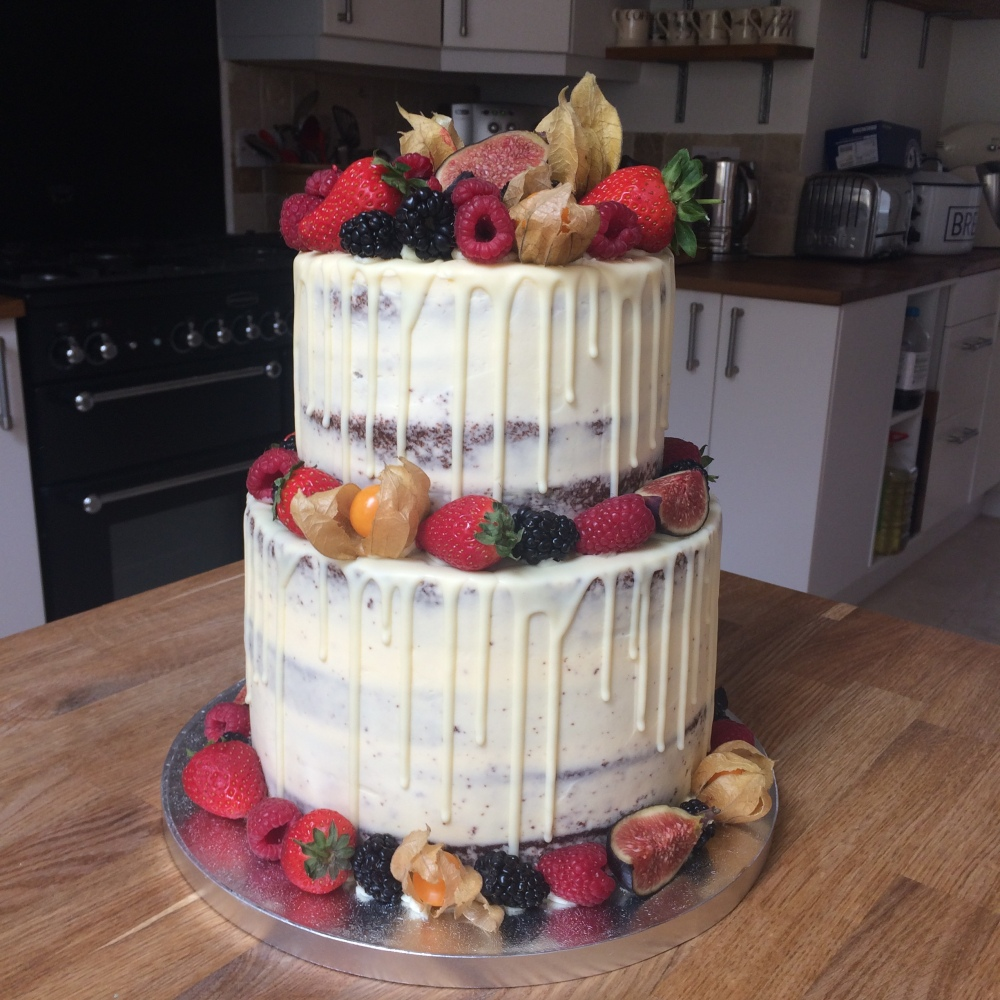 bc semi naked drip tier fruit wedding cake