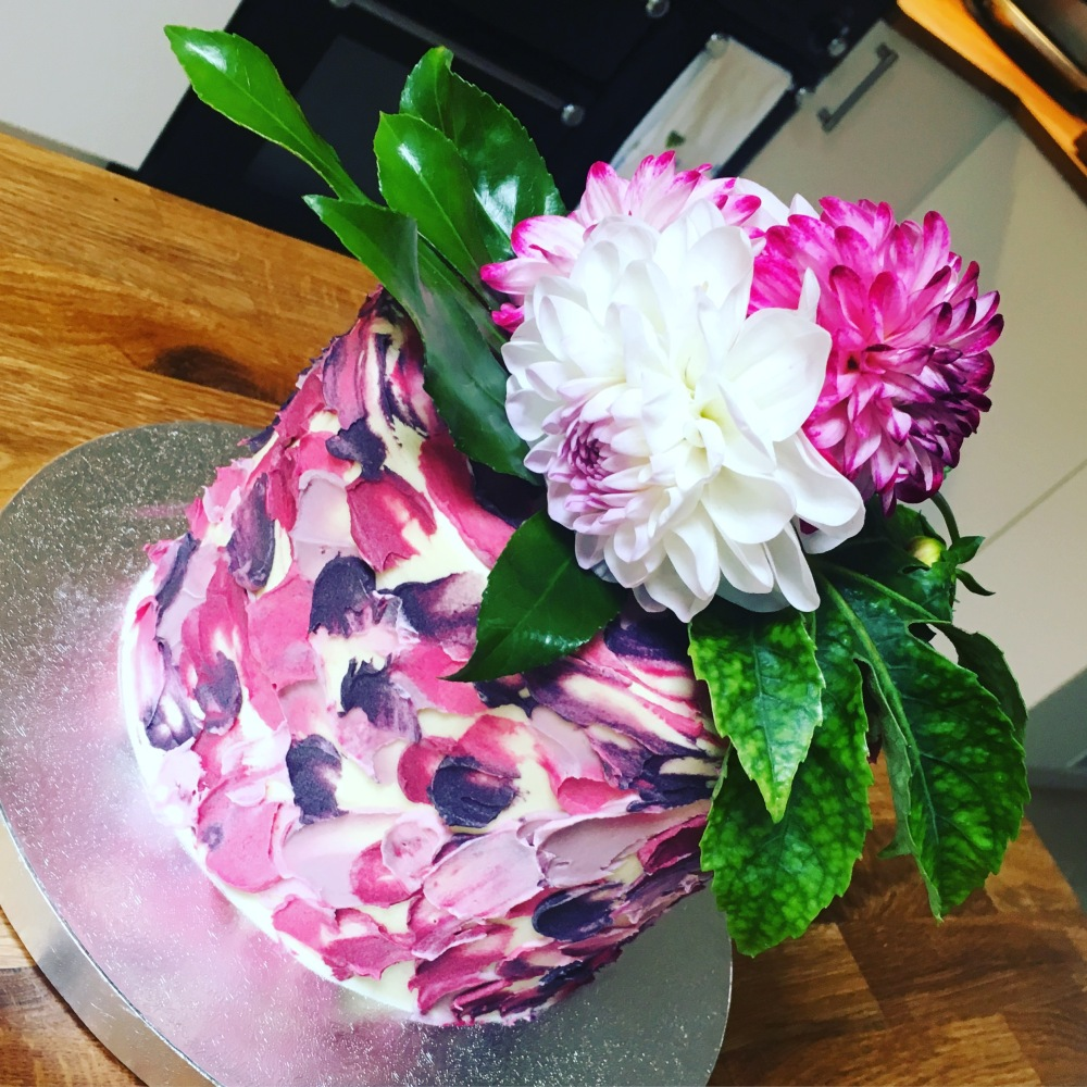 painted watercolour flower cake