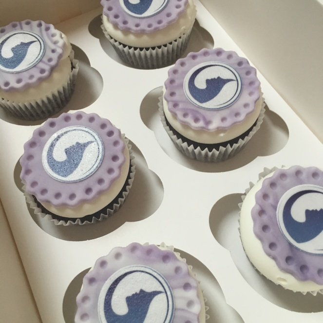 purple flower cupcakes corporate toppers