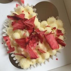 Strawberry Confetti Heart Cupcake Close