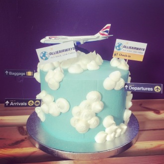 BC Clouds Plane Airplane Cake 1