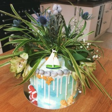 BC Nautical Coastal Flower Boat Cake 1