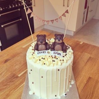 Christening Bear Drip Cake